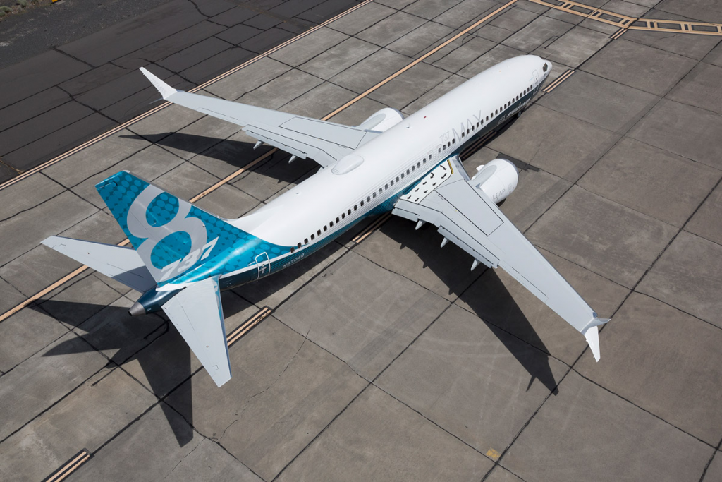 aerial view of the boeing 737 max on the apron