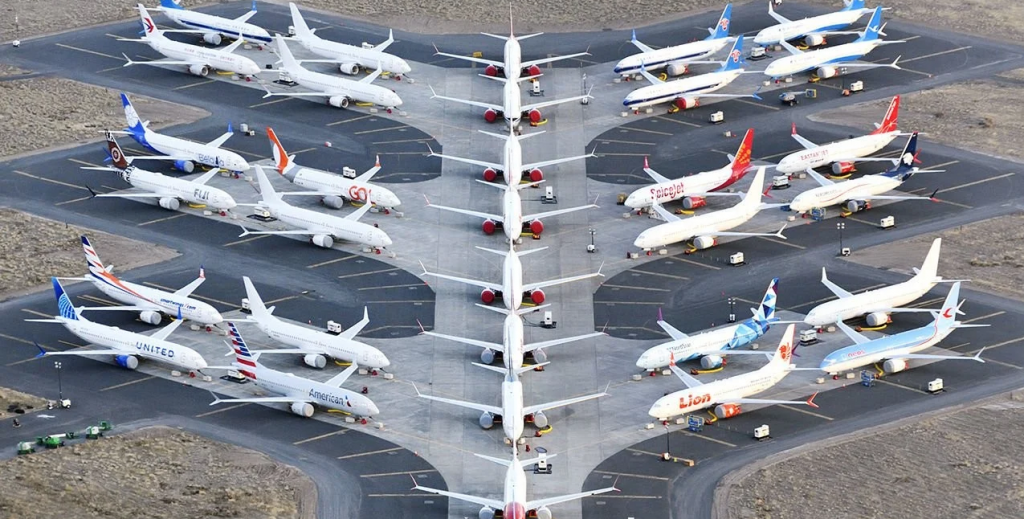 a number of boeing 737 max aircraft await delivery