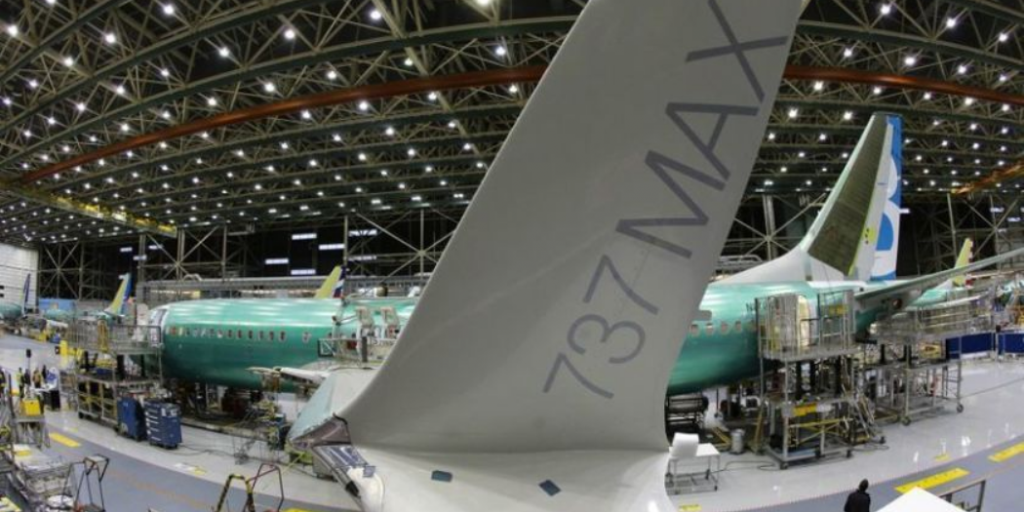 737 bbj max aircraft in manufacture within the boeing build facility
