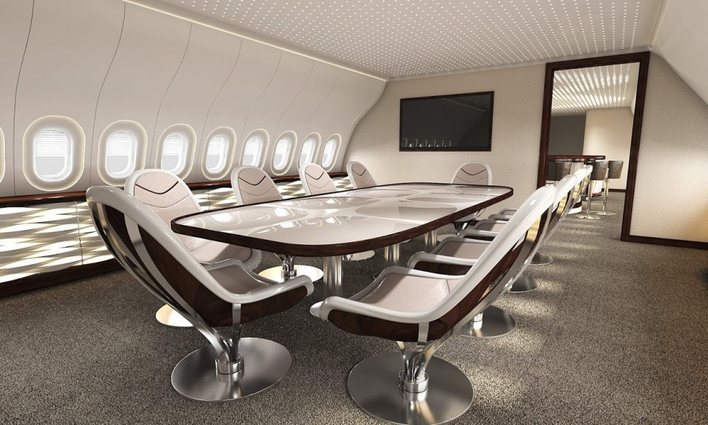 Jet interior design lounge concept for the BBJ 777X by VIP Completions Ltd. (UK)