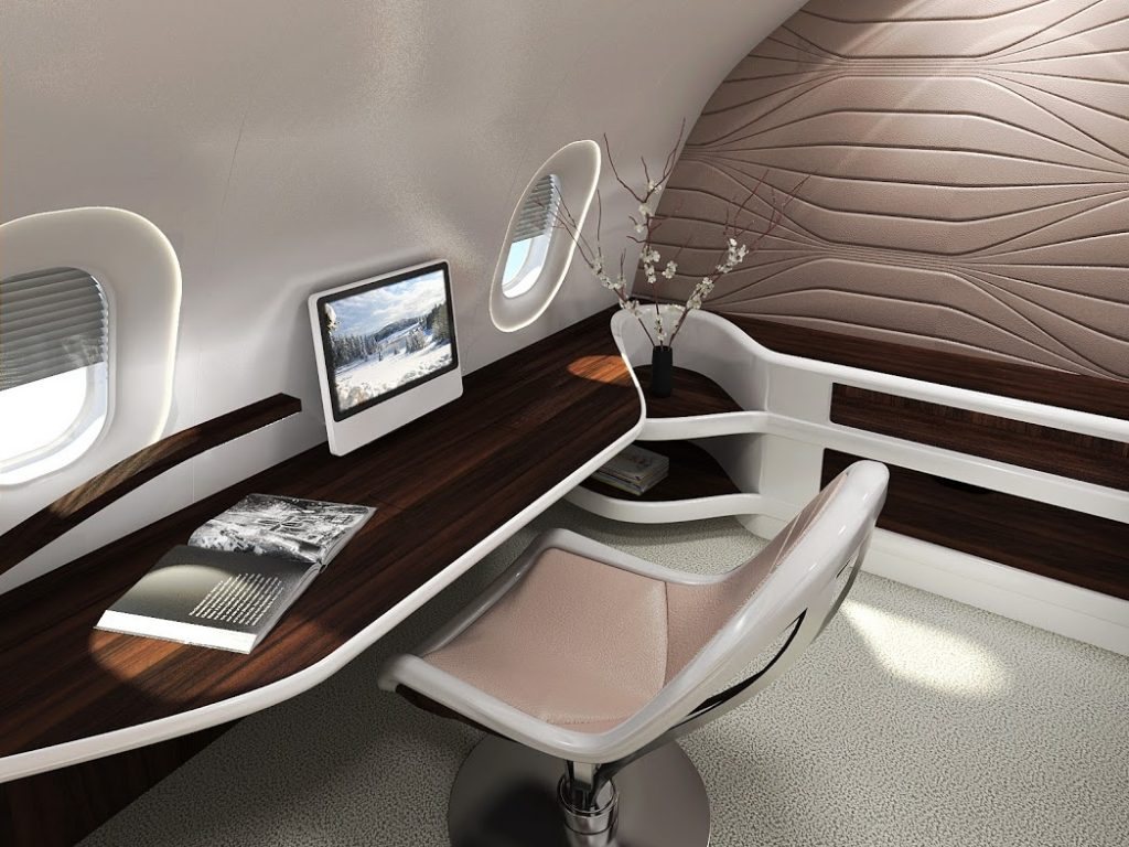 Jet interior design media area concept for the BBJ 777X by VIP Completions Ltd. (UK)