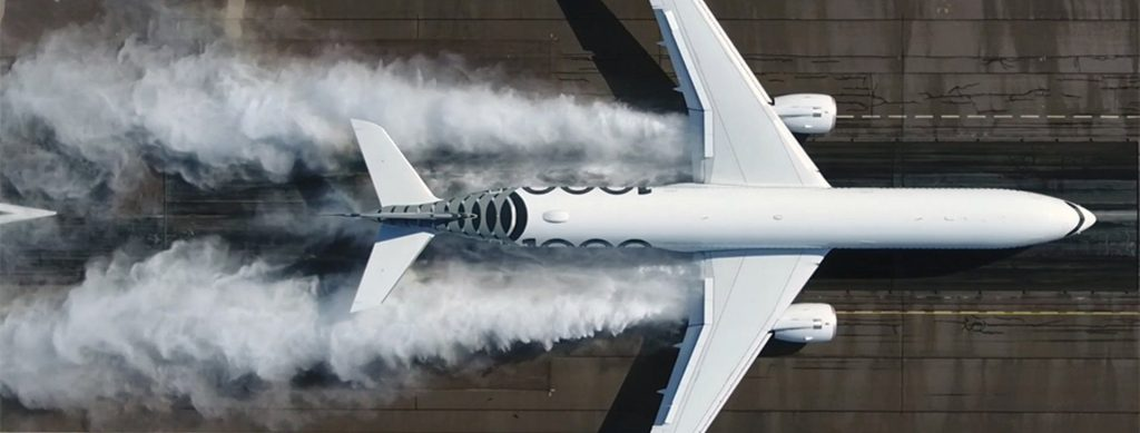airbus a350-1000 on the run way with water