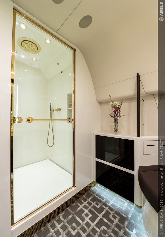 Airbus ACJ319 Ensuite bathroom with square shower
