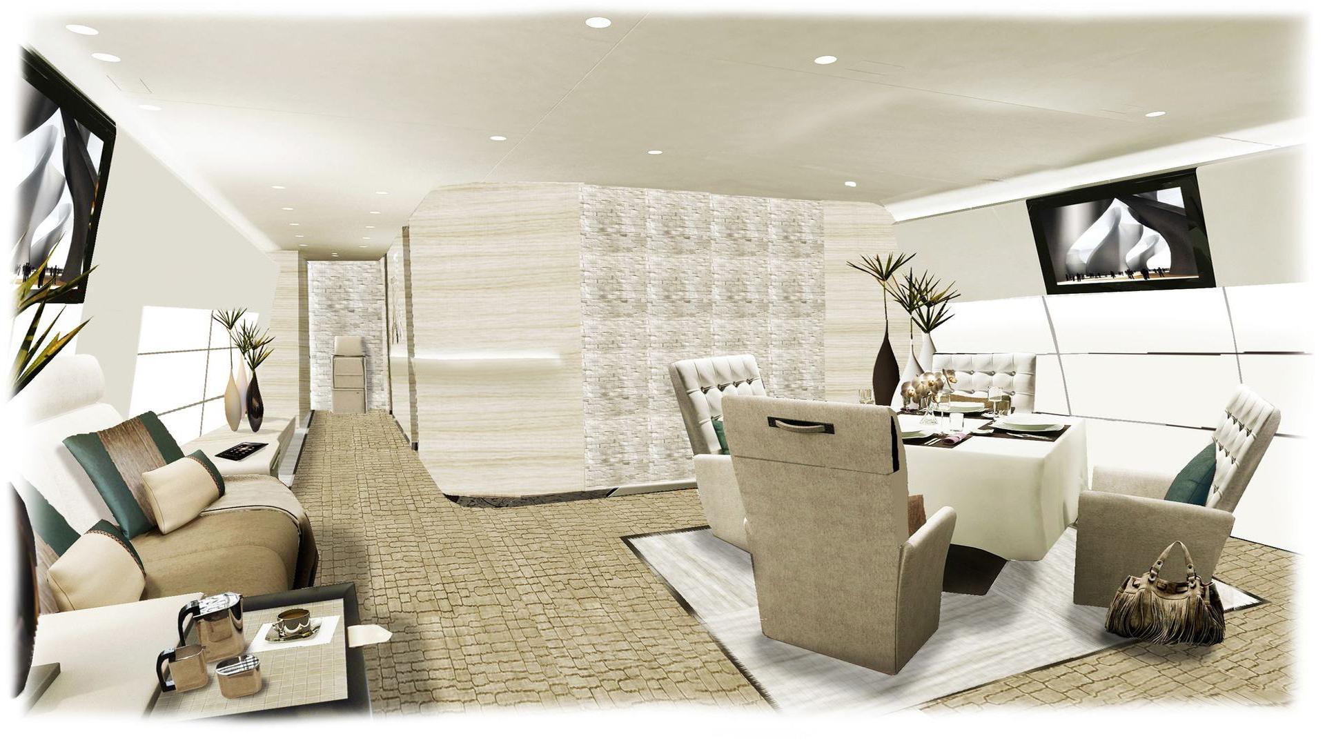 Mezzanine floor for boeing 747 800 vip for Design vip chambre mario jean