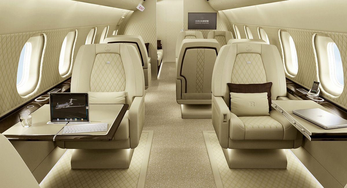 Private jet interiors by brabus aircraft completion news for Aircraft interior designs