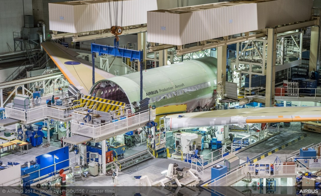 airbus aircraft being manufactured on the production line