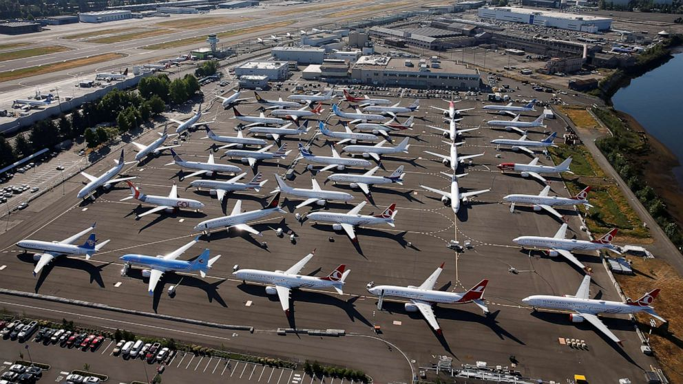 boeing 737 max aircraft parked awaiting customer delivery