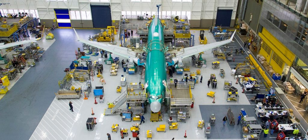 a boeing 737 max in production