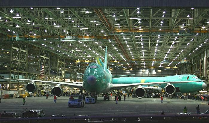 new green boeeing 747 aircraft at the everett factory