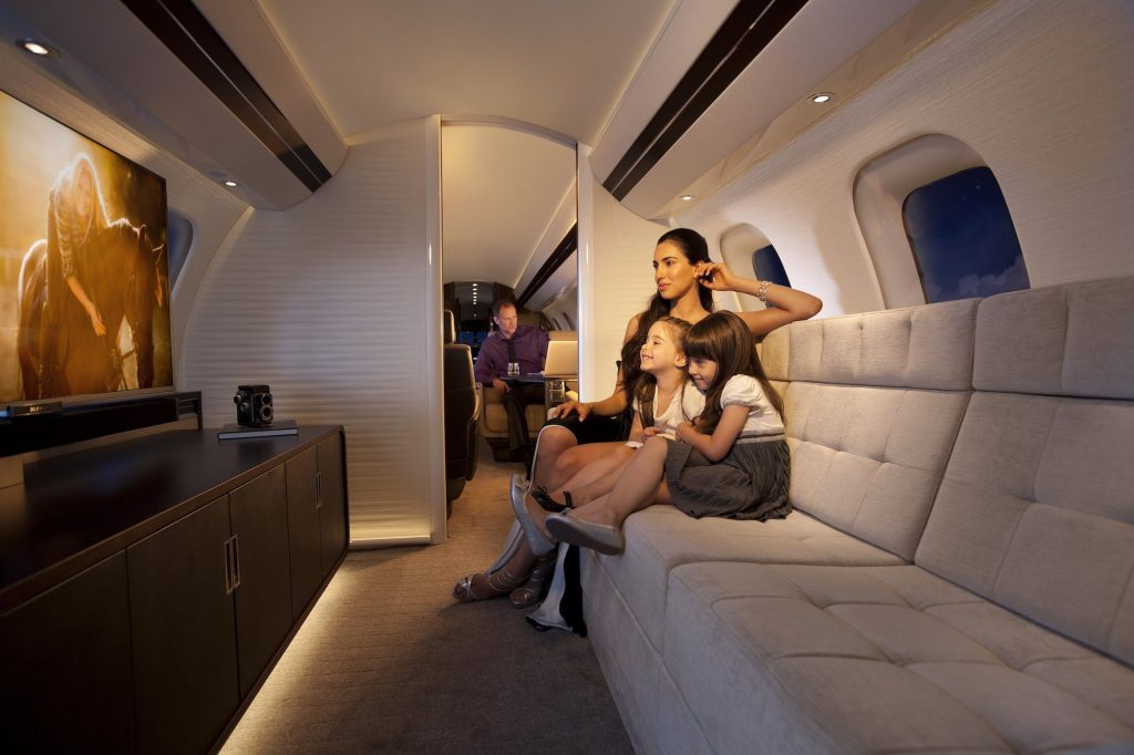 bombardier global 7000 interior divan and tv