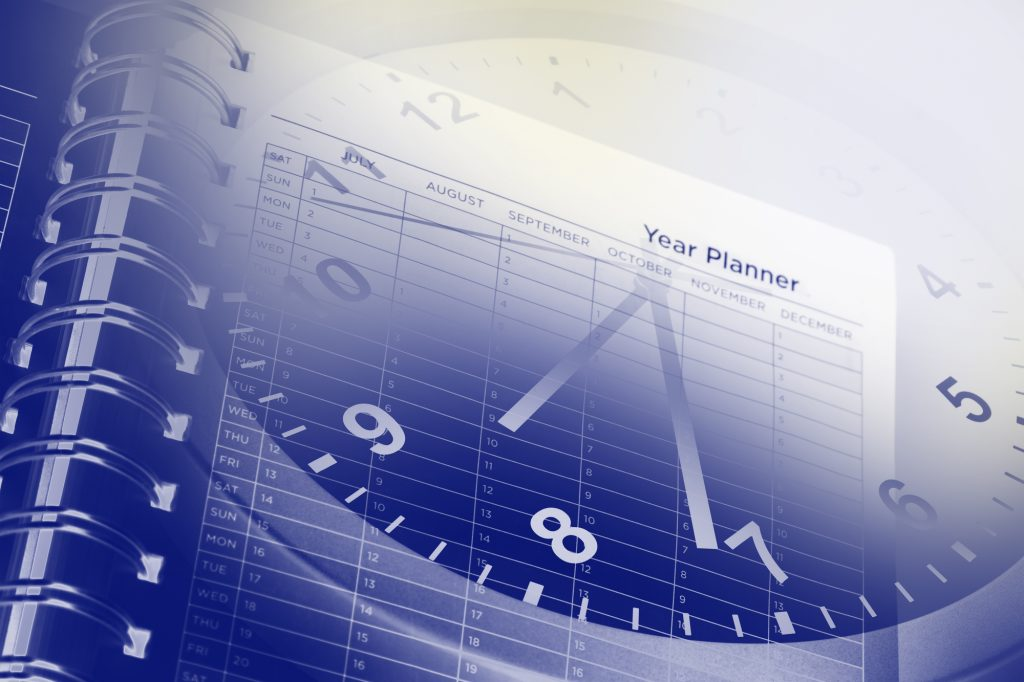 clock and year calender for project planning