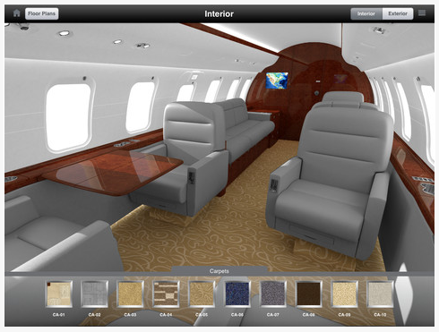 Design your jet's interior and exterior with an App